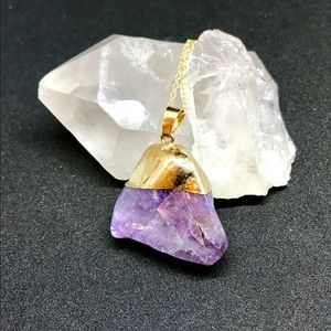 Jewelry - Gold Dipped Raw Amethyst Necklace